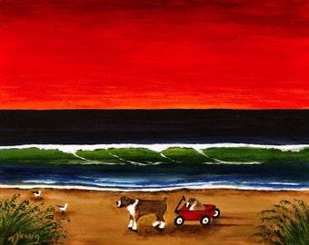 Boxer Beach Boxer dog folk art print by Todd Young