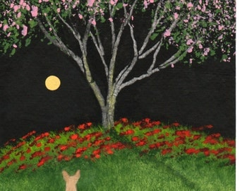 Chihuahua Dog Folk Art PRINT by Todd Young Under the Cherry Tree