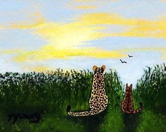 Cheetah Bengal Cat BIG CATS art print of Todd Young painting