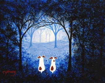 Jack Russell Terrier Dog FOREST LOST art print by Todd Young
