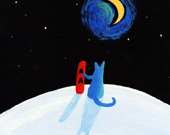 Russian Blue Cat Snowboard Folk art print of Todd Young painting The Hill