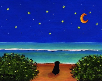 Rottweiler dog STARRY SHORE art print by Todd Young paintnig