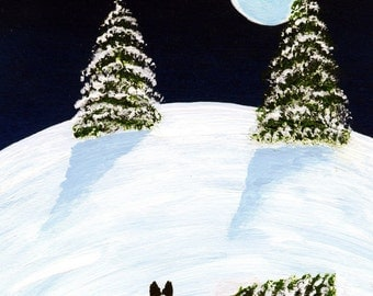 Silent Night Border Collie Dog folk art print by Todd Young
