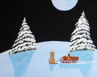 Sled Ride Golden Retriever Yellow Lab dog print by Todd Young