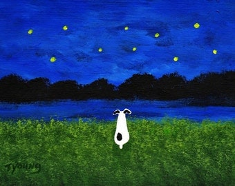 Rat Terrier Dog UNDER THE STARS limited edition reproduction art print by Todd Young painting