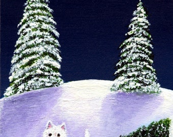 Westie CHRISTMAS TREE limited edition reproduction art print of Todd Young painting