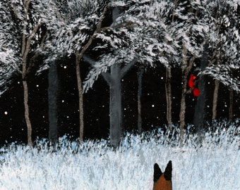 German Shepherd Dog WINTER CARDINAL limited edition reproduction art print of Todd Young painting