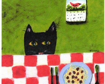 Black Cat SPAGHETTI CAT Outsider folk art print by Todd Young