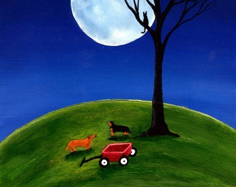 Dachshund Dog Art Print Todd Young painting DACHSHUND BLUE MOON