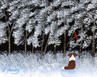 Sheltie WINTER FRIEND limited edition reproduction art print of Todd Young painting