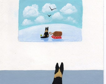 German Shepherd Dog Folk art print by Todd Young At The Gallery