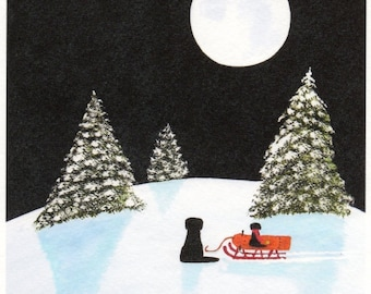 Black Lab Dog SLEDDING reproduction art print by Todd Young