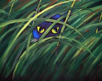 Black Cat folk art PRINT of Todd Young painting HIDING