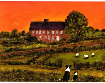 Border Collie Dog LARGE Folk Art print of Todd Young painting SUNSET WATCH