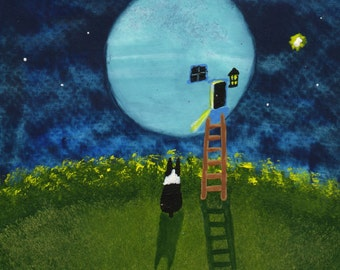 Boston Terrier dog folk art PRINT of Todd Young painting Man in the Moon