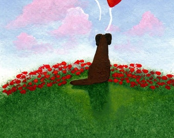Chocolate Lab Dog BE MINE Valentine Limited Edition reproduction Print of Todd Young painting
