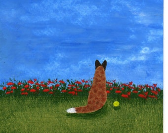 Red Australian Cattle Dog Art PRINT Todd Young painting Red Poppies