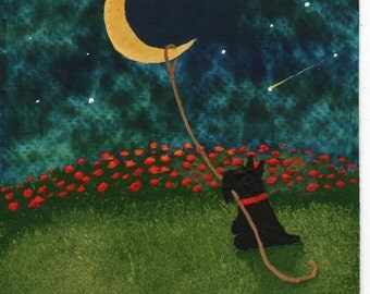 Scottie Dog folk art PRINT of Todd Young painting Lasso the Moon