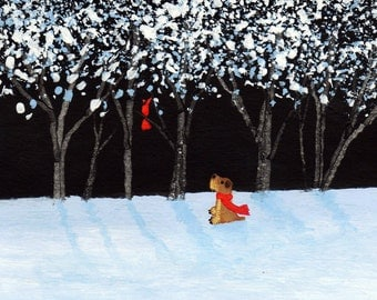 Soft coated Wheaten Terrier Dog Art PRINT Todd Young painting Winter Song