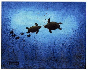 Sea Turtle folk LARGE art PRINT of Todd Young painting FAMILY