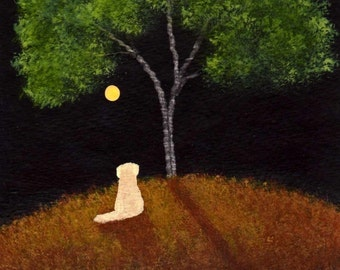 Wishing Yellow lab dog folk art print by Todd Young
