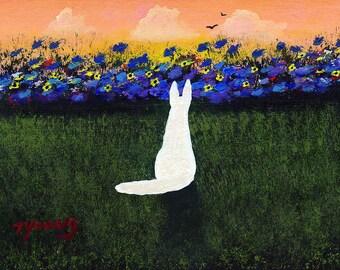 White German Shepherd Dog art PRINT Summer Garden of Todd Young painting
