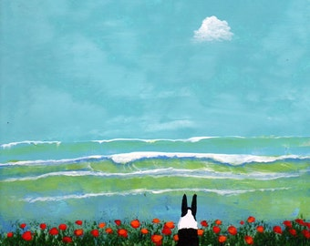 Boston Terrier dog art PRINT of Todd Young painting ROLLING WAVES