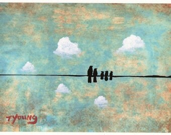 Bird Wire folk LARGE art PRINT of Todd Young painting Family