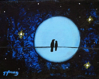 Black bird Wire Love LARGE art PRINT of Todd Young painting Magical Night