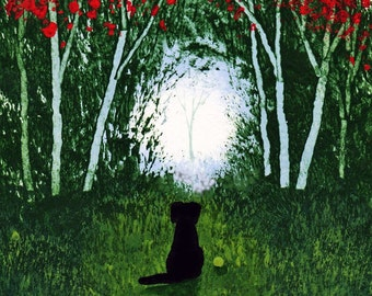 Black Lab Dog HOPE limited edition reproduction art print by Todd Young painting