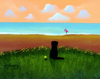 Black Lab Dog Art PRINT Todd Young painting BEACH
