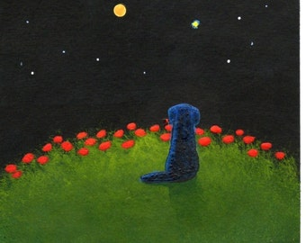 Black Lab MOON AND STARS limited edition reproduction art print by Todd Young painting