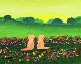 Golden Retriever Dog folk art PRINT by Todd Young MONETS GARDEN