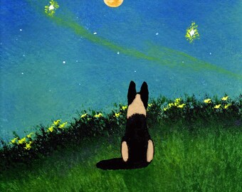 German Shepherd Dog Folk Art PRINT of Todd Young painting NORTHERN LIGHTS