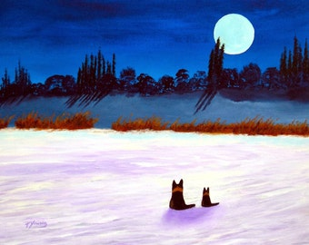 German Shepherd Dog WINTER MOON limited edition reproduction art print of Todd Young painting