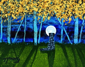 Catahoula Leopard Dog Modern Folk Art PRINT of Todd Young painting Autumn Forest