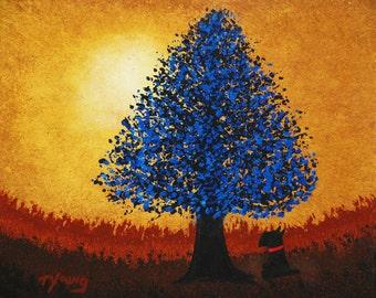 Scottie Scotty Dog Modern Folk Art PRINT of Todd Young Blue Tree