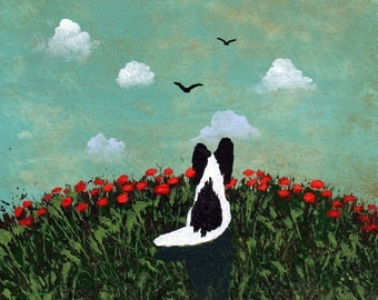 Black Papillon Dog art PRINT Todd Young painting Summer Poppies