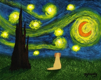 Yellow Lab dog art PRINT of Todd Young painting Under A Starry Sky