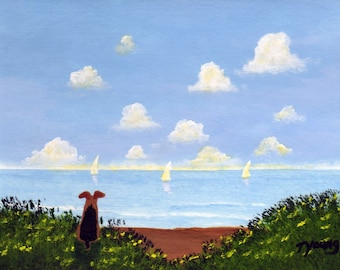 Airedale Welsh Terrier Dog OCEAN VIEW Limited Edition Reproduction art PRINT by Todd Young