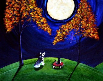 Siberian Husky Dog GOLDEN MOON Folk Art PRINT from a Todd Young painting