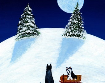 Siberian Husky Malamute Dog Large folk art print by Todd Young painting SLEDDING