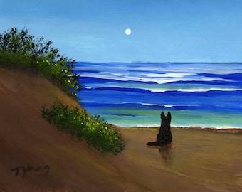 Black German Shepherd Dog THE DUNES art PRINT of Todd Young painting