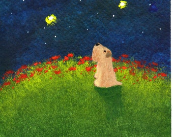Soft coated Wheaten Terrier Dog Art PRINT Todd Young painting MOON GAZER