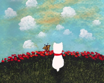 Westie Terrier Dog Folk Art PRINT Todd Young painting Butterfly