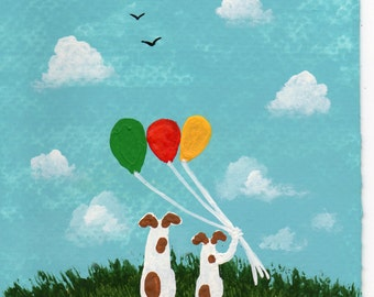 Jack Russell Terrier Dog Art PRINT Todd Young painting Balloons