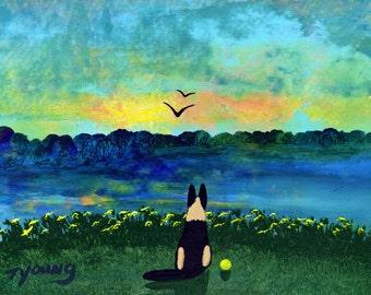 German Shepherd Dog folk art PRINT by Todd Young DAWN