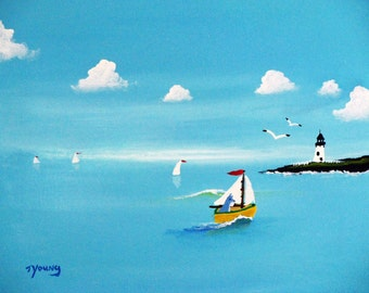 Schnauzer Dog folk art PRINT of Todd Young painting Across the Bay