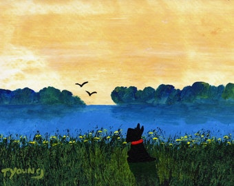 Scottie Dog Folk Art PRINT Todd Young painting Summer Pond