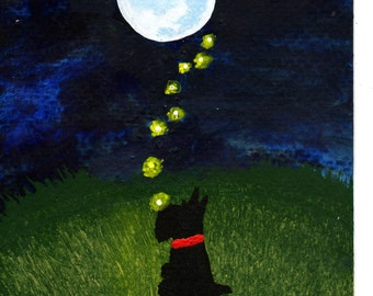 Scotty Scottie dog LARGE folk art PRINT of Todd Young painting Dancing Fireflies